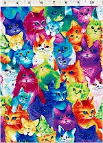 Rainbow Cats Packed, Timeless Treasures