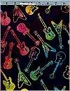 Guitars On Black Batik Robert Kaufman