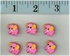 Pink Elephant Buttons Set Of 6