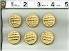 Gold Quilted Look Buttons Set Of 6