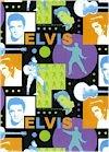 Elvis Faces & Silhouettes, Bright Colors, COTTON