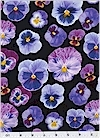 Pansies on Black, Benartex Fabrics