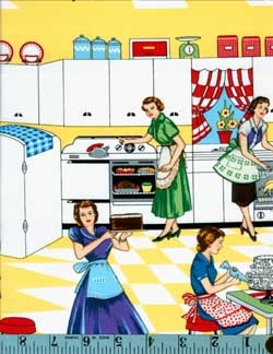 Home Ec Retro Kitchen Ladies, Michael Miller