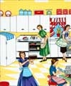 Home Ec Retro Kitchen Ladies, Michael Miller
