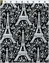 Eiffel Tower,  Black Toile,  Michael Miller