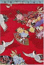 Kyoto Cranes & Fans Red Gold Accented Elizabeth Studios