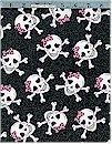 Cutie Skulls, Glittered, Fabric Traditions