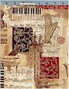 Music Collage Gold Accented Robert Kaufman