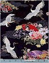 Kyoto, Cranes & Fans, Gold Accented, Liz Studio