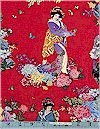 Kyoto, Flowered Geisha Red, Gold Accented, Elizabeth Studio
