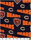 Chicago Bears Team Logo Fabric On Black 60 Inches Wide Cotton Limited Stock 1 1/2 Yards