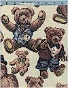 Teddy Bears,  Italian Tapestry, 54 Inches Wide