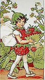 Alphabet Flower Fairies, Strawberry Fairy PANEL, Sold By The Panel, Michael Miller
