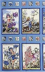 Periwinkle Flower Fairies Panel Blocks, Michael Miller