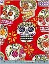 Calaveras Skulls, Red, Glittered, Alexander Henry
